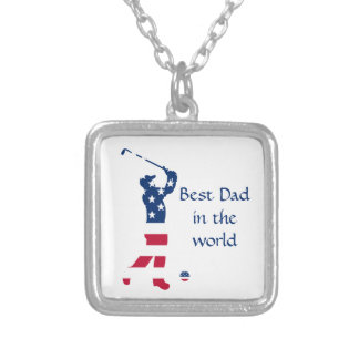 USA golf American flag golfer Silver Plated Necklace