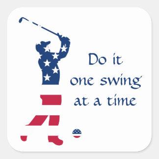 USA golf American flag golfer Square Sticker