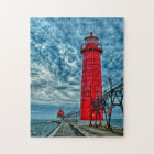 USA, Grand Haven, Michigan, lighthouse Jigsaw Puzzle