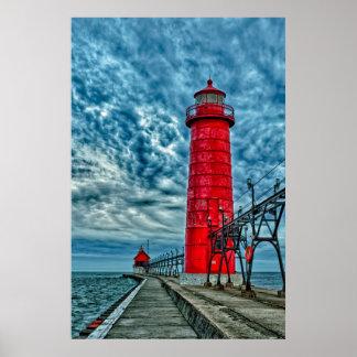USA, Grand Haven, Michigan, lighthouse Poster