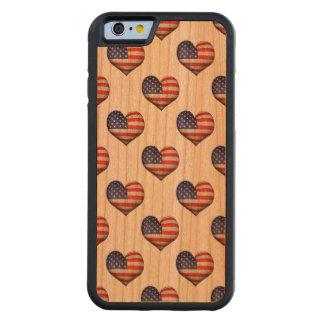 Usa Grunge Heart Shaped Flag Pattern Carved Cherry iPhone 6 Bumper Case
