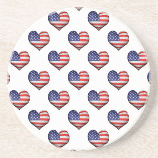 Usa Grunge Heart Shaped Flag Pattern Coaster