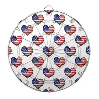 Usa Grunge Heart Shaped Flag Pattern Dartboard