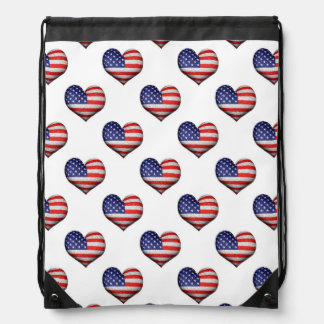 Usa Grunge Heart Shaped Flag Pattern Drawstring Bag