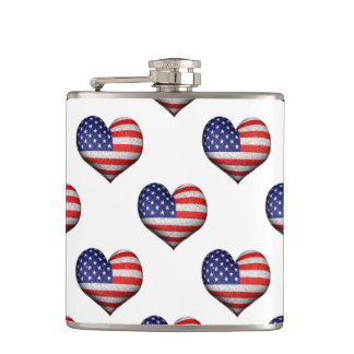 Usa Grunge Heart Shaped Flag Pattern Hip Flask