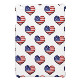 Usa Grunge Heart Shaped Flag Pattern iPad Mini Cases