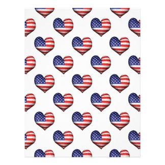 Usa Grunge Heart Shaped Flag Pattern Letterhead