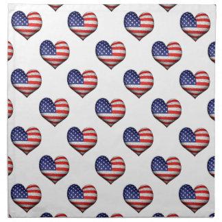 Usa Grunge Heart Shaped Flag Pattern Napkin