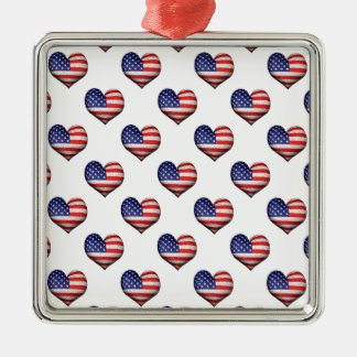 Usa Grunge Heart Shaped Flag Pattern Silver-Colored Square Ornament
