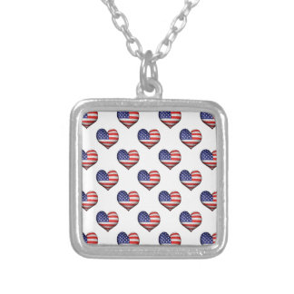 Usa Grunge Heart Shaped Flag Pattern Silver Plated Necklace