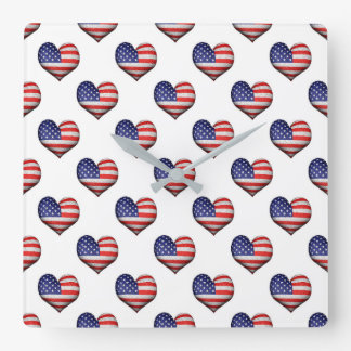 Usa Grunge Heart Shaped Flag Pattern Square Wall Clock