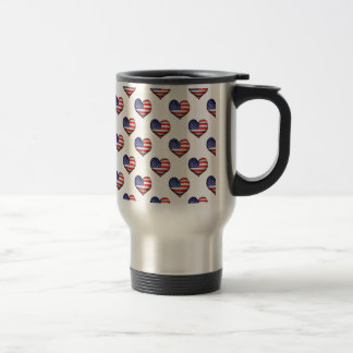 Usa Grunge Heart Shaped Flag Pattern Travel Mug