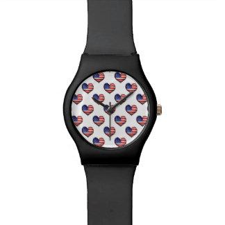 Usa Grunge Heart Shaped Flag Pattern Watch