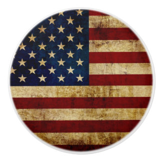 USA / Grunged Flag Ceramic Knob