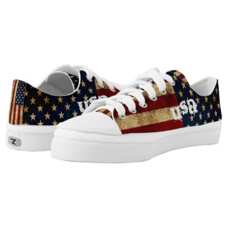 USA / Grunged Flag... Low-Top Sneakers