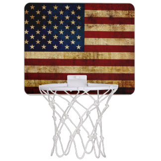 USA / Grunged Flag Mini Basketball Hoop