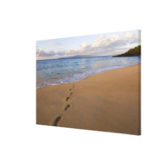USA, Hawaii, Maui, Wailea, footprints on beach 2 Canvas Print