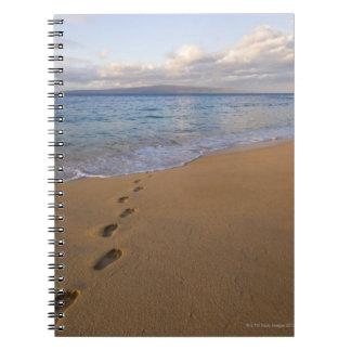 USA, Hawaii, Maui, Wailea, footprints on beach 2 Notebook