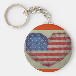 USA heart cross stitch key chain