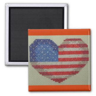 USA heart cross stitch  magnet