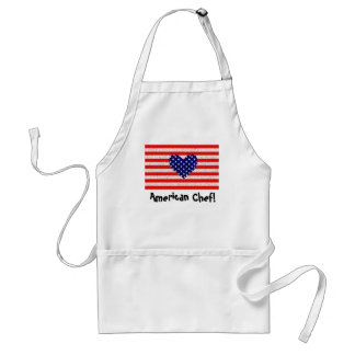 USA  heart flag american chef apron