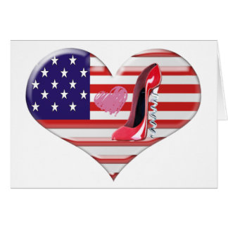 USA Heart Flag and Corkscrew Red Stiletto Shoe Card