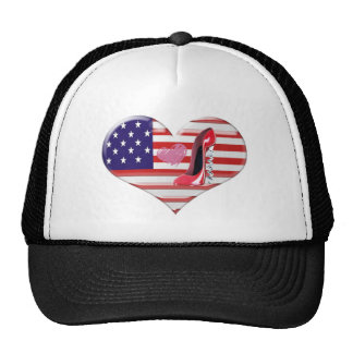 USA Heart Flag and Corkscrew Red Stiletto Shoe Trucker Hat