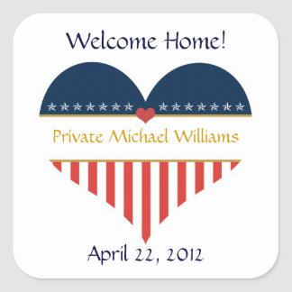 USA Heart Flag Welcome Home Stickers