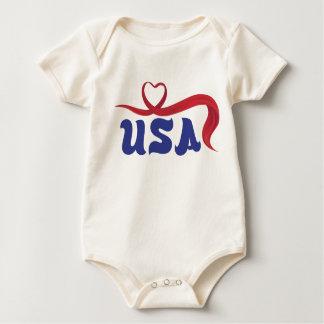 USA heart ribbon logo Baby Bodysuit