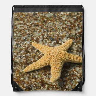 USA, HI, Kauai, Glass Beach with Star fish Drawstring Backpack