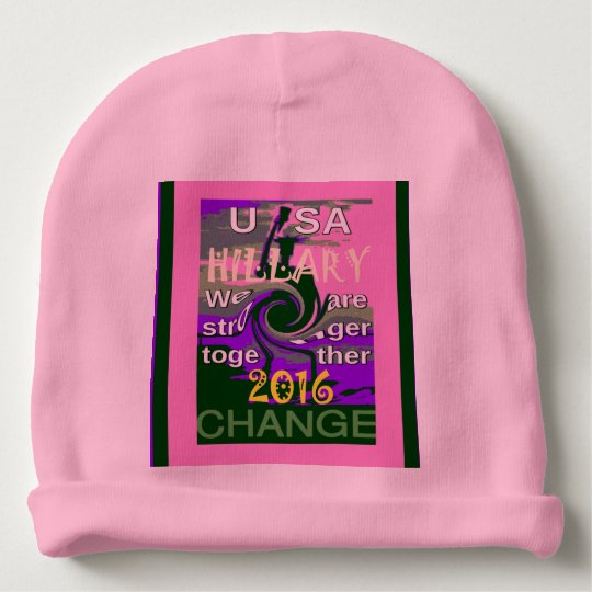 USA Hillary Baby Pink stronger together colours Baby Beanie