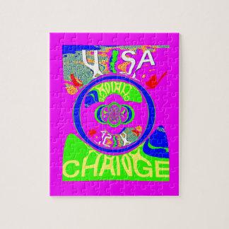USA Hillary Change Monogram  Art design Puzzle