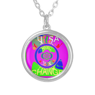 USA Hillary Change Monogram  Art design Silver Plated Necklace