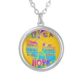 USA Hillary Hope Stronger Together Silver Plated Necklace