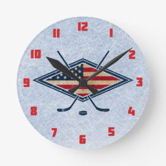 USA Hockey Round Wall Clock