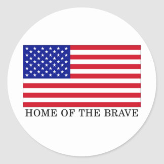 USA Home Of The Brave Classic Round Sticker