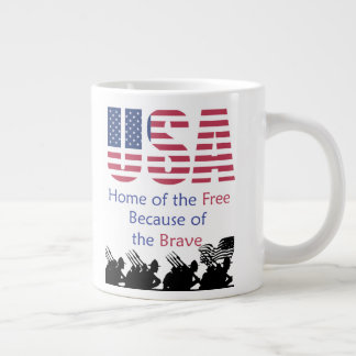 USA - Home of the Free Because of the Brave Large Coffee Mug