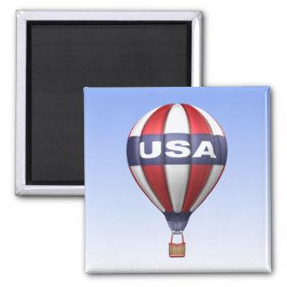 USA Hot Air Balloon Square Magnet