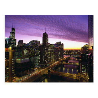 USA IL Chicago Chicago skyline and river Postcards