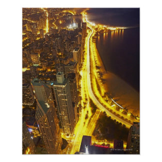 USA, Illinois, aerial view of Chicago at dusk Poster