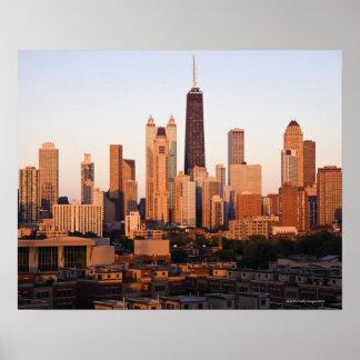 USA, Illinois, Chicago, City skyline at sunset Poster