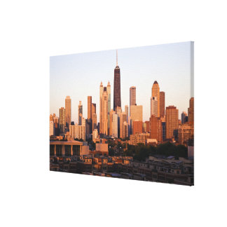 USA, Illinois, Chicago, City skyline at sunset Stretched Canvas Print