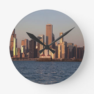 USA, Illinois, Chicago, City skyline over Lake 2 Round Clock