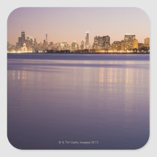 USA, Illinois, Chicago, City skyline over Lake 3 Square Sticker