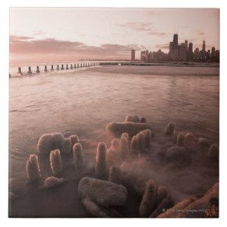 USA, Illinois, Chicago, City skyline over Lake 4 Ceramic Tile