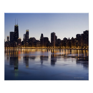 USA, Illinois, Chicago, City skyline over Lake 6 Poster