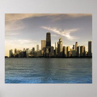 USA, Illinois, Chicago, City skyline over Lake 7 Poster