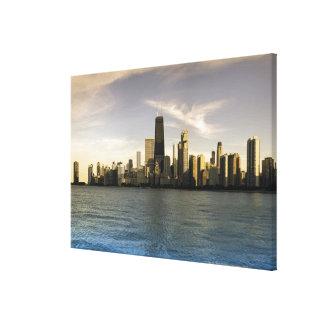 USA, Illinois, Chicago, City skyline over Lake 8 Gallery Wrap Canvas