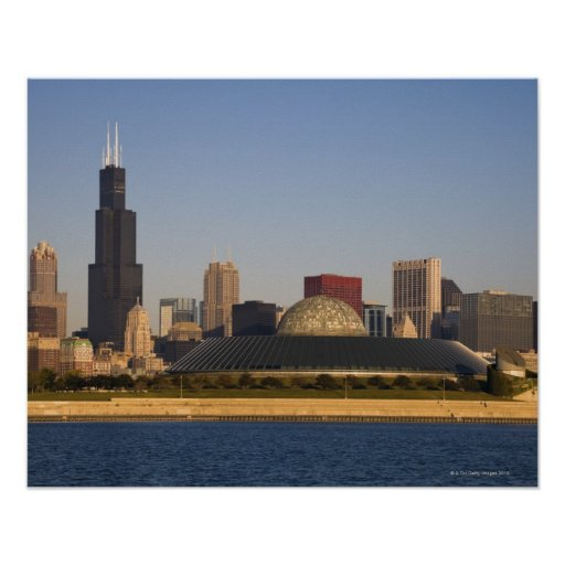 USA, Illinois, Chicago, City skyline with Adler Posters