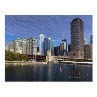 USA Illinois Chicago skyline across river Post Cards